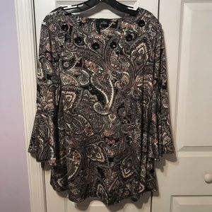 New Directions Top Paisley Print Bell Sleeve